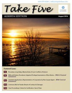 Alberta Take Five August 2016