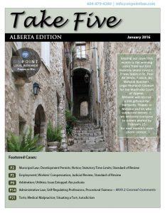 Alberta Take Five January 2016 cover